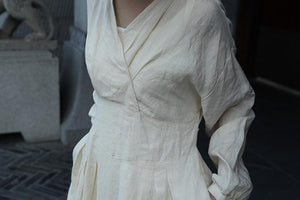 Vintage Inspired Beige Linen Dress