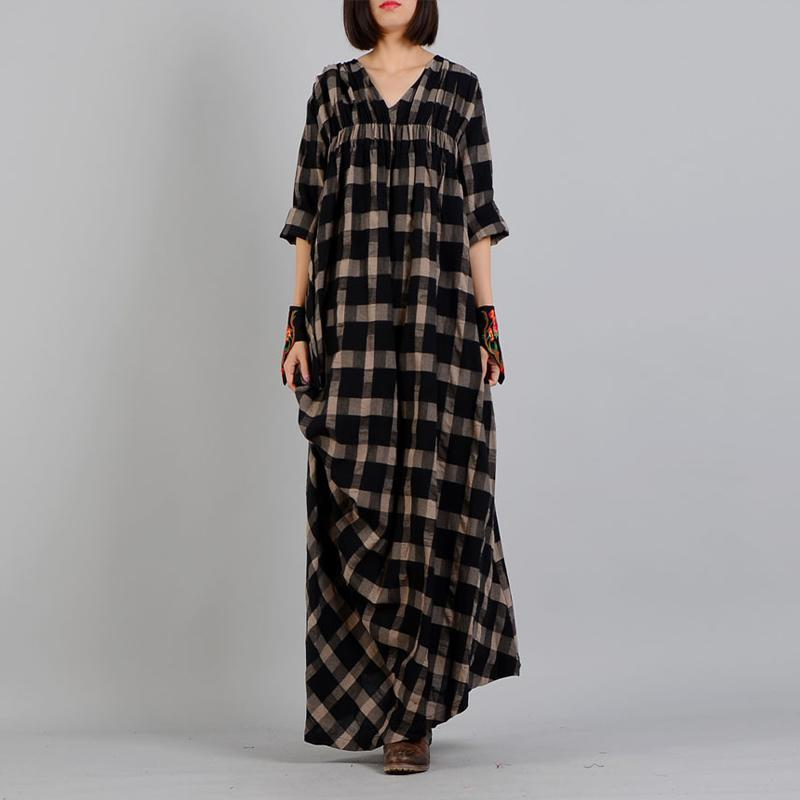 Oversized V-Neck Plaid Grunge Dress