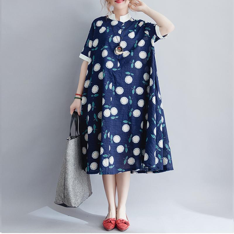 Buddha Trends Dress One Size / Blue Blue Floral Polka Dots Oversized Shirt Dress