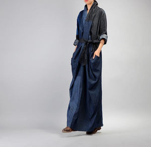 Buddha Trends Kleid One Size / Blue Patchwork Long Denim Bleistiftkleid | Nirwana