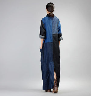 Patchwork Long Denim Bleistiftkleid | Nirwana