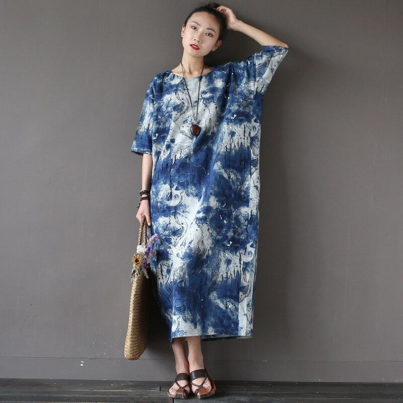 Buddha Trends Dress One Size / Blue Tie-Dye Tie Dye Ink Abstract Dress