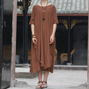 Buddha Trends Dress One Size / Brown Embroidered Literature Dress  | Zen