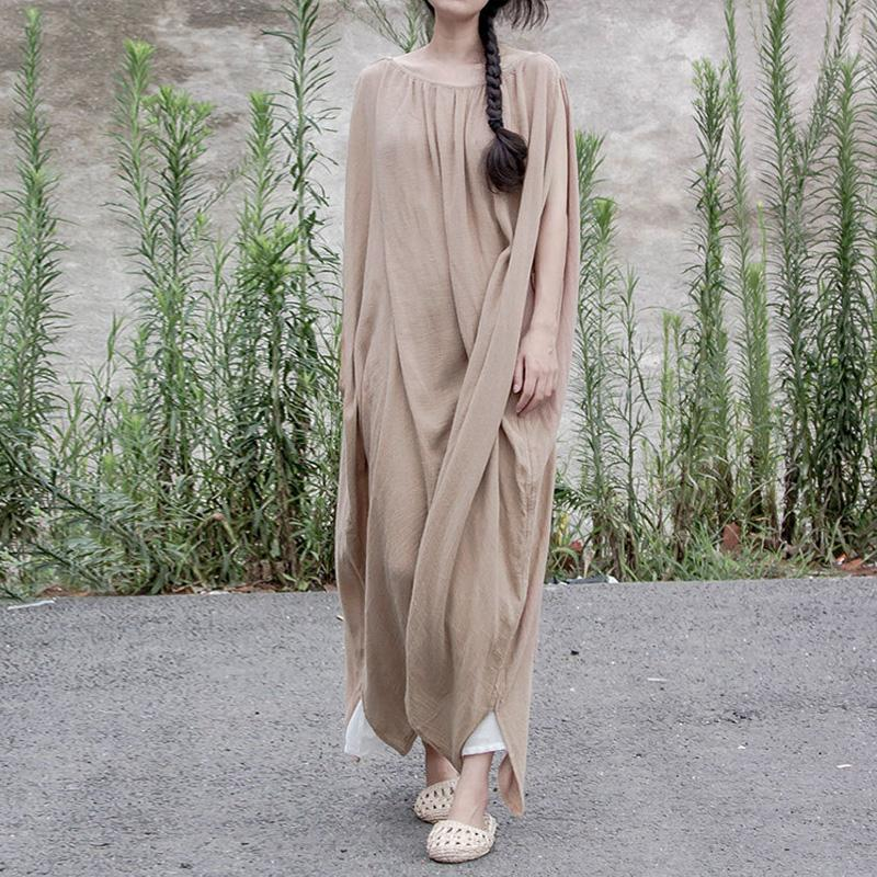 Dark Beige Cotton Linen Dress | Lotus