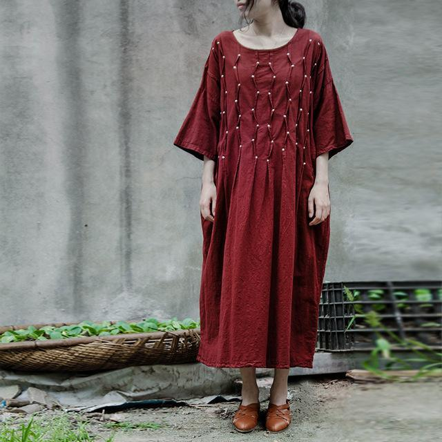 Buddha Trends Dress One Size / Dark Red Embroidered Short Sleeve Linen Dress | Lotus
