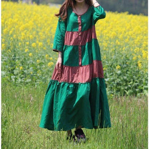 Φόρεμα Buddha Trends One Size / Green Franfreluche Bohemian Hippie Dress