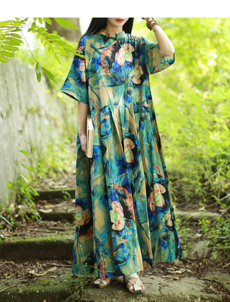 Buddha Trends Kleid One Size / Multicolor Floral Plissee Chinesisches Kleid