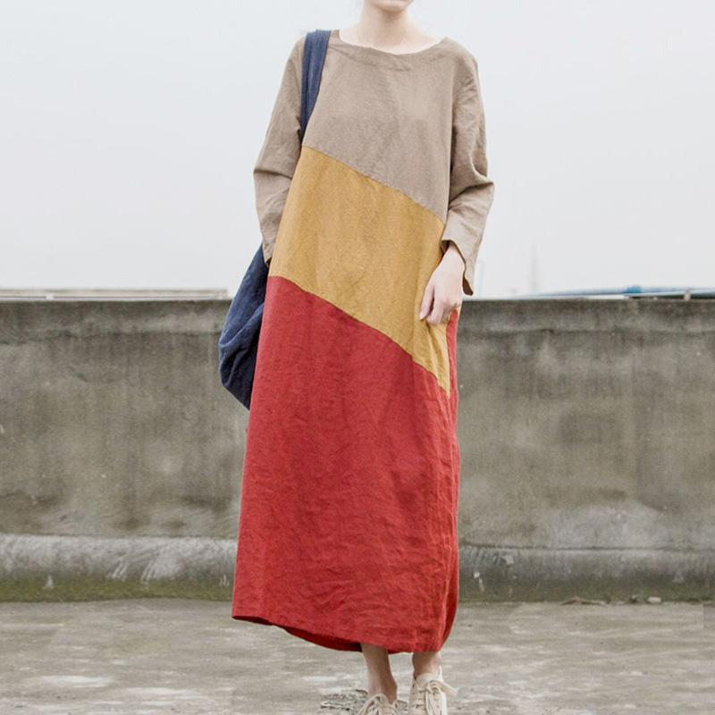Tricolor Long Sleeve Patchwork Ramie Dress | Lotus