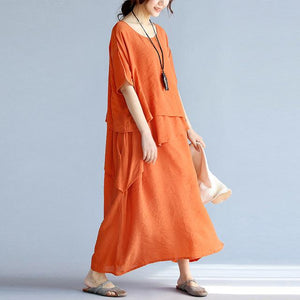 Buddha Trends Kleid Orange / One Size Layered Asymmetrical Hippie Kleid | Zen