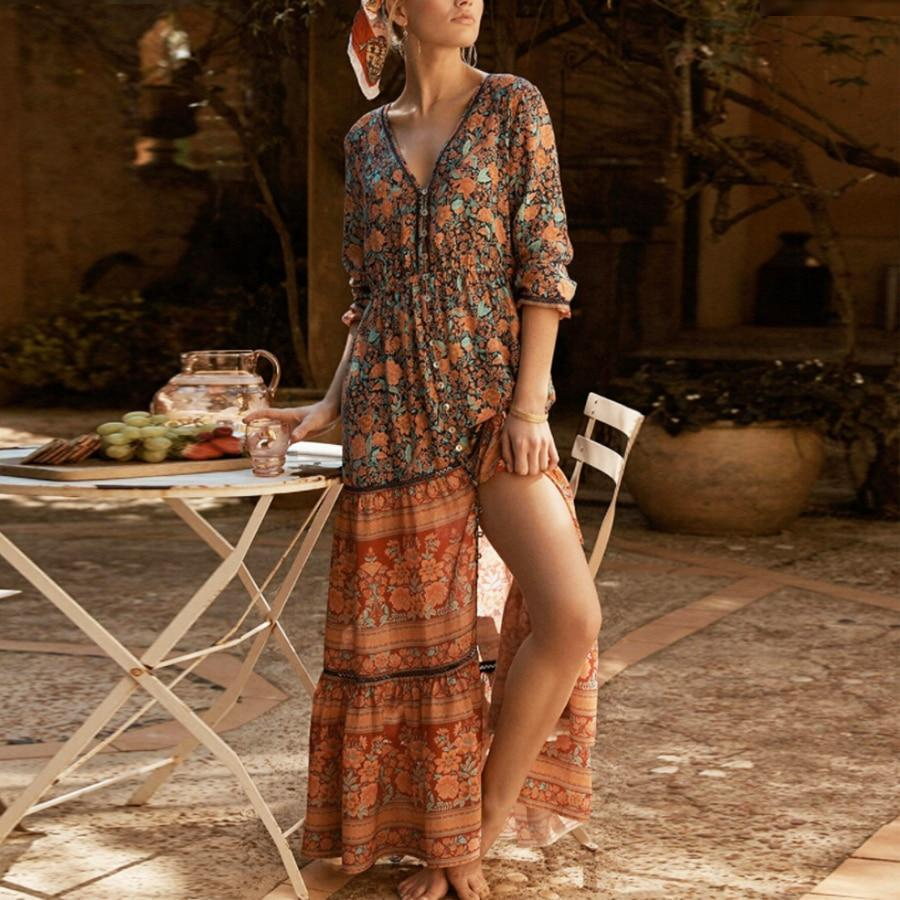 Buddha Trends Dress Orange / S Boho Gypsy Floral Printed Dress