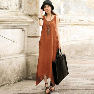 Buddha Trends Dress Orange / S Casual Sleeveless Maxi Dress  | Zen