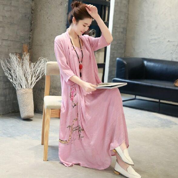 Buddha Trends Dress Pink / M Silk and Linen Floral Dress