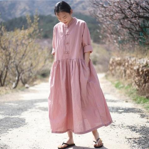 Buddha Trends Dress Pink / One Size Oversized Linen Midi Dress  | Zen