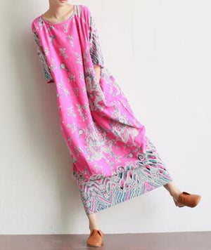 Φόρεμα Buddha Trends Pink / One Size Royal Dragons Linen Dress