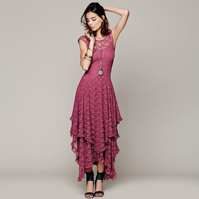 Buddha Trends Dress Pink / XL Layered Irregular Lace Bohemian Dresses