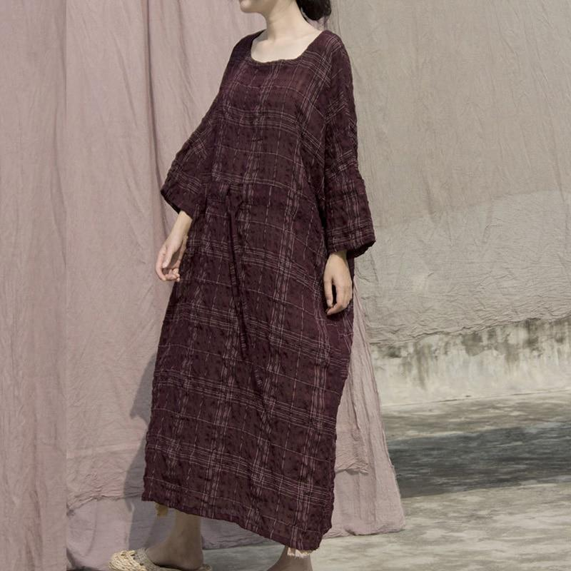 Buddha Trends Dress Plaid Cotton Ramie Maxi Dress | Lotus