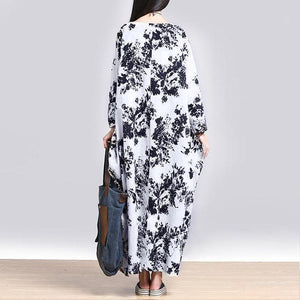Plus Size White and Blue Floral Maxi Dress