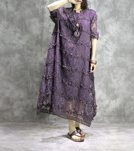 Buddha Trends Dress Purple / One Size Asymmetrical Lace Midi Dress