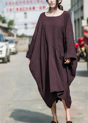 Buddha Trends Dress Purple / One Size Batwing Sleeves Asymetrical Linen Dress | Lotus