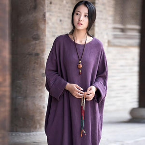 Buddha Trends Dress Purple / One Size Casual Zen Robe en coton oversize | Zen