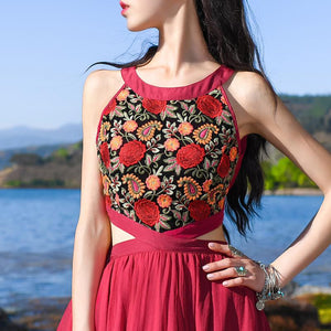 Buddha Trends Dress Red Bohemian Chiffon Maxi Dress | Mandala