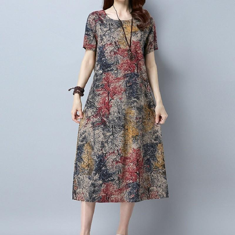 Buddha Trends Dress Red / L Abstract Flowers Short Sleeve Dress