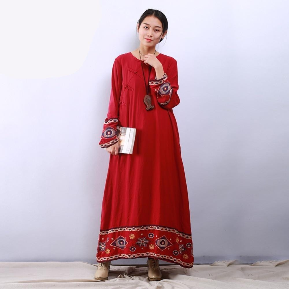 Floral Embroidered Chinese Dress