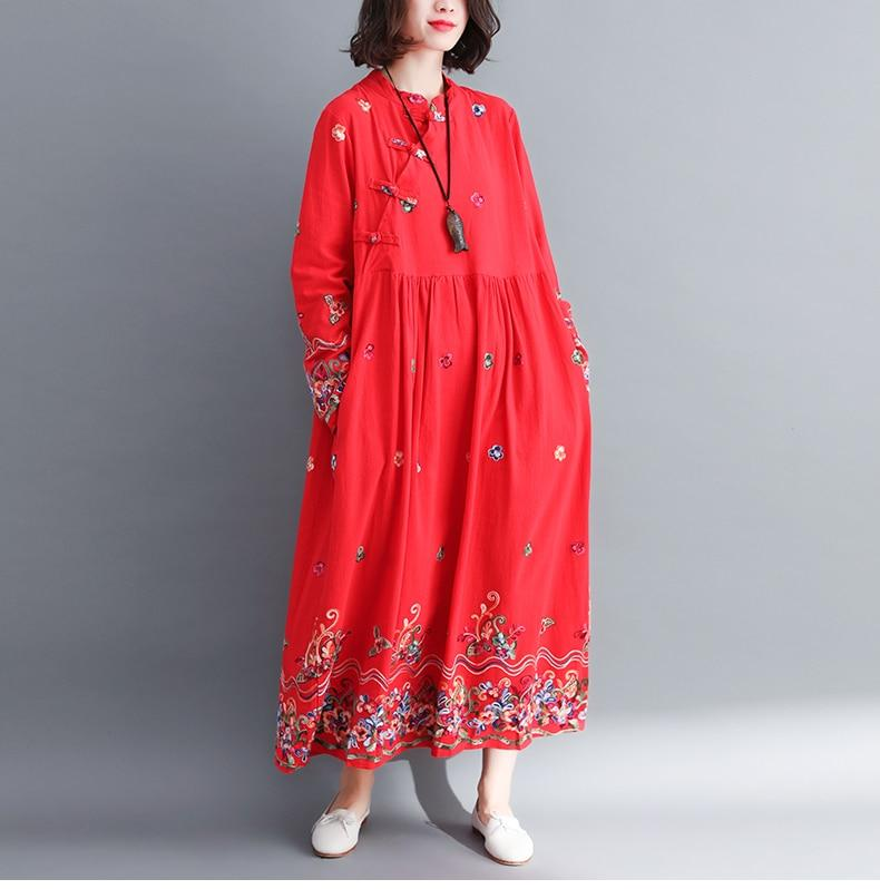 Buddha Trends Dress Floral Embroidered Modern Chinese Dress