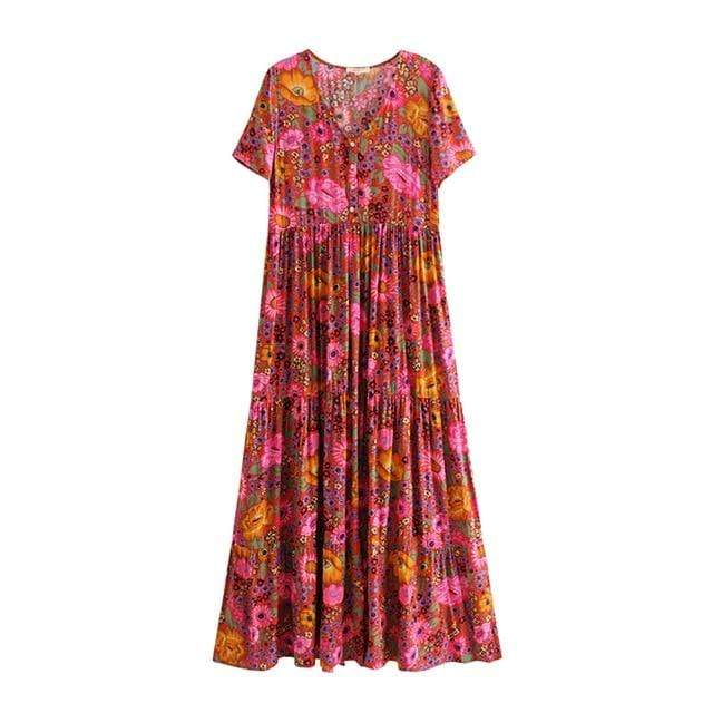 Hippie Sunflower Maxi Dress