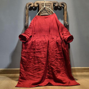 Buddha Trends Dress Red / One Size Oversized Pleated Zen Robe