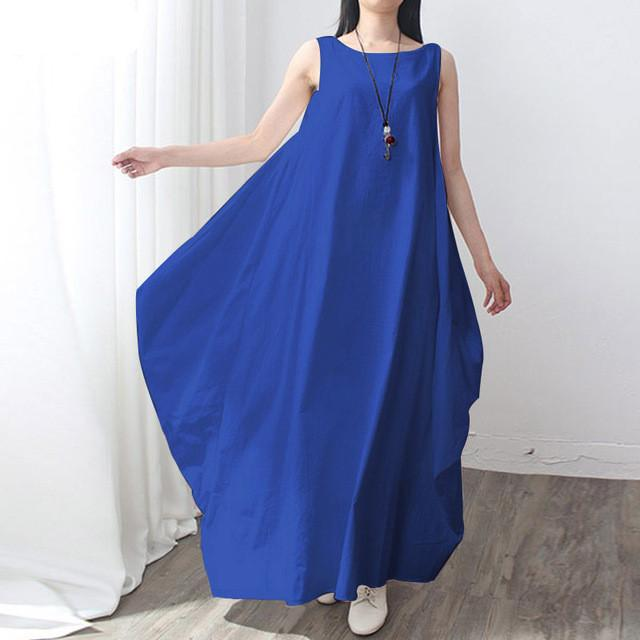 A Line Royal Blue Long Sleeveless Maxi Dress
