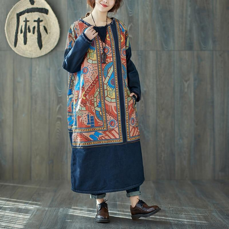 Tribal Art  Fleece Cotton Dress