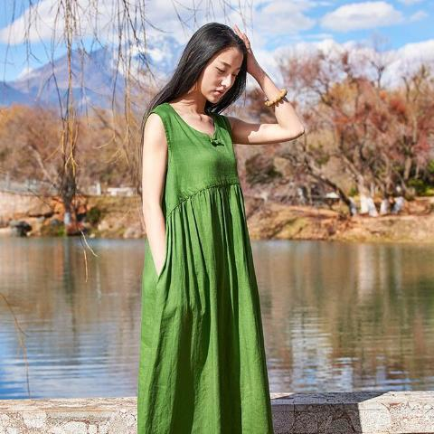 Buddha Trends Dress Vibrant Green / One Size A Line Casual Green Linen Dress  | Zen