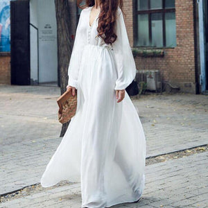 Buddha Trends Dress Blanc / L Taille Empire Boho Chic Casual Robe Blanche