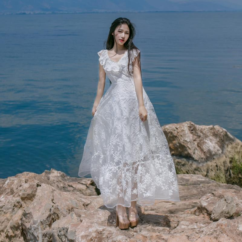Vintage White Lace Bohemian Dress | Mandala