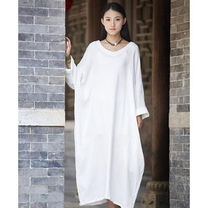 Buddha Trends Dress Blanc / Taille Unique Robe Zen Occasionnelle En Coton Surdimensionné | Zen
