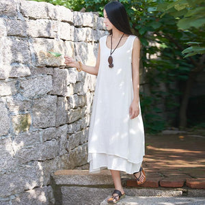 Buddha Trends Dress Blanc / S Robe en lin décontractée sans manches | Zen