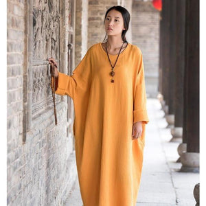 Buddha Trends Dress Jaune / Taille Unique Robe Zen Occasionnelle En Coton Surdimensionné | Zen