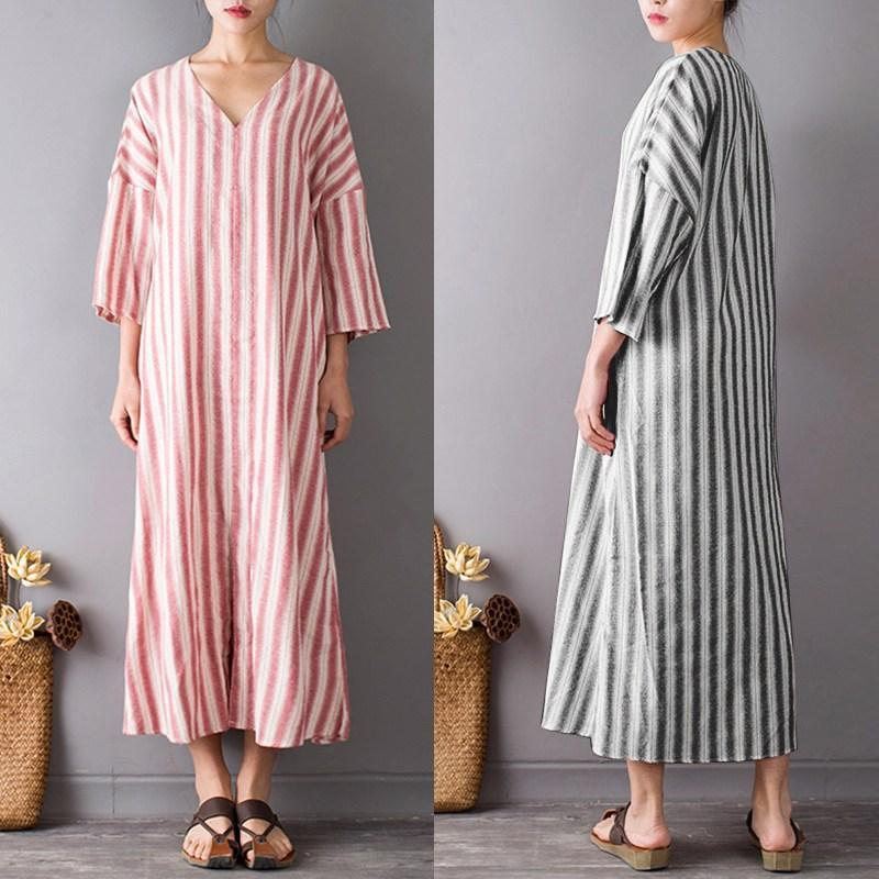 Zen Garden Striped Maxi Dress  | Zen