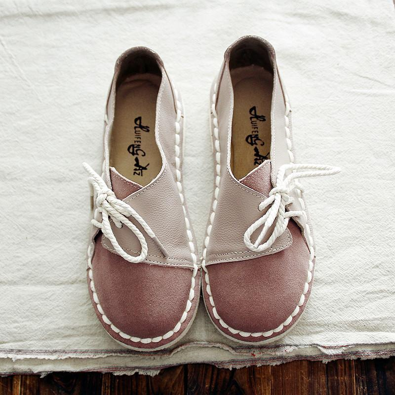 Buddha Trends Dusty Pink / 4.5 Genuine Leather Handmade Round Toe Flats