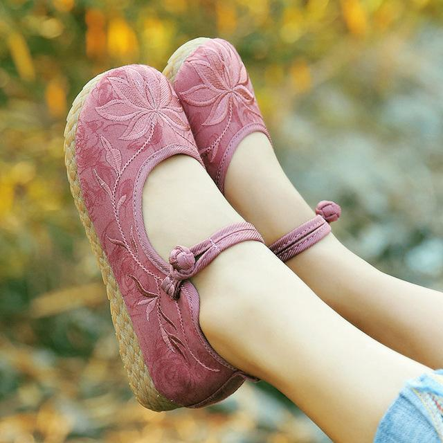 Buddha Trends Dusty Pink / 6 Pink Cotton & Linen Shoes
