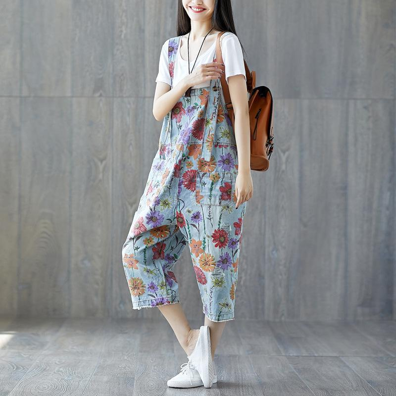 Buddha Trends Floral Denim Overall