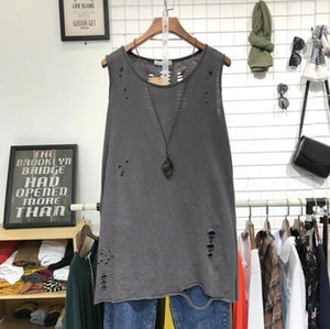 Buddha Trends Grey / One Size Casual Distressed Tank Top