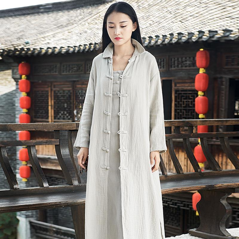 Buddha Trends Gray / One Size Chinese Style Cotton Linen Trench Coat  | Zen