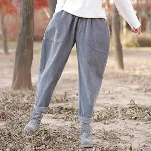 Buddha Trends Grey / One Size Rolled Up Vintage Corduroy παντελόνι