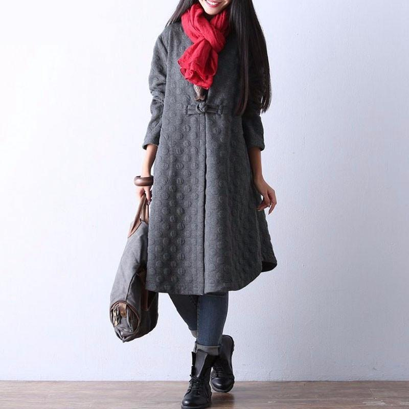 Buddha Trends Gray / S Elegant Polka Dot Trench Coat