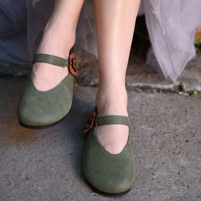 Buddha Trends Green / 9 Handmade Retro Art Leather Shoes