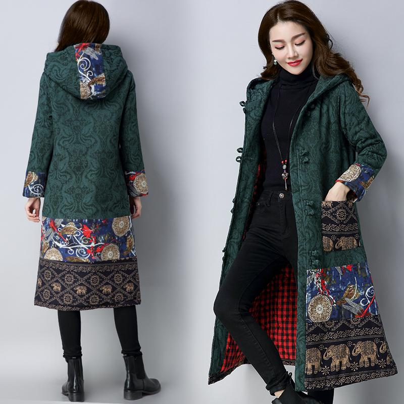 Buddha Trends Green / L Embroidered Hooded Knee-Length Trench Coat