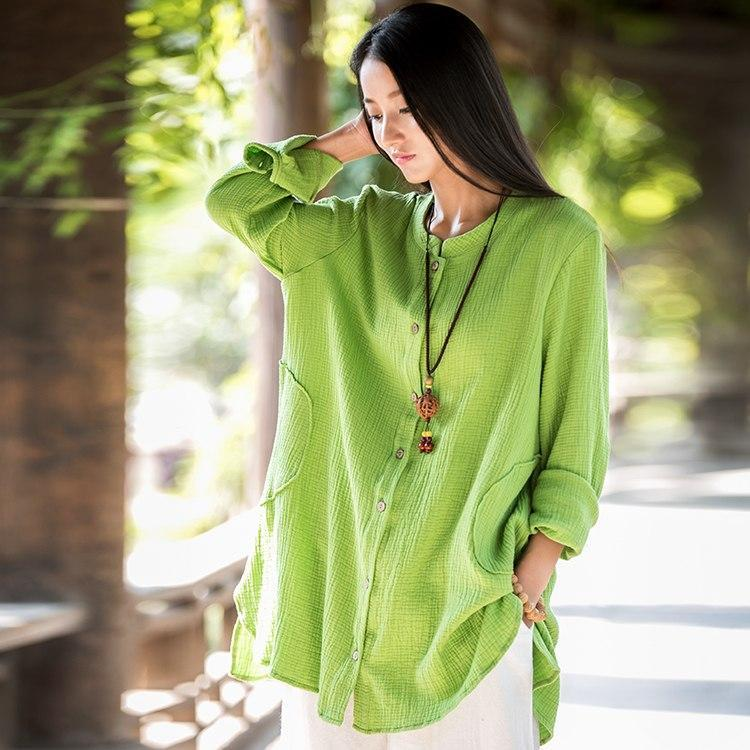 Buddha Trends Green / One Size Button up Cotton and Linen Shirt  | Zen
