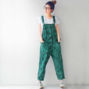 Coconut Tree Print 90's Overalls - Green / One Size - Buddha Trends